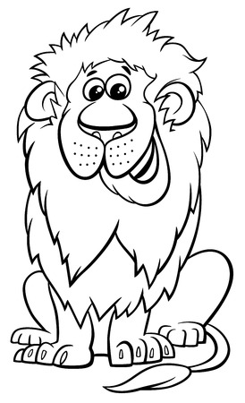 Black and White Cartoon Illustration of Lion Wild Cat Animal Character Coloring Book