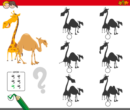 Cartoon Illustration of Finding the Shadow without Differences Educational Activity for Children with Giraffe and Camel Animal Characters