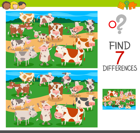Cartoon Illustration of Finding Seven Differences Between Pictures Educational Activity Game for Children with Farm Cows Animal Characters Group