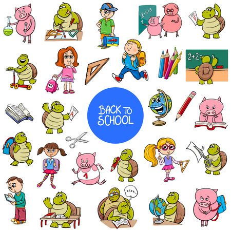Cartoon Illustration of School and Education Characters and Objects Large Set