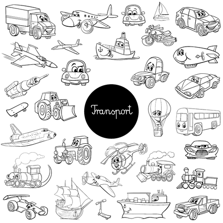 Black and White Cartoon Illustration of Transportation Vehicle Characters Huge Set Иллюстрация