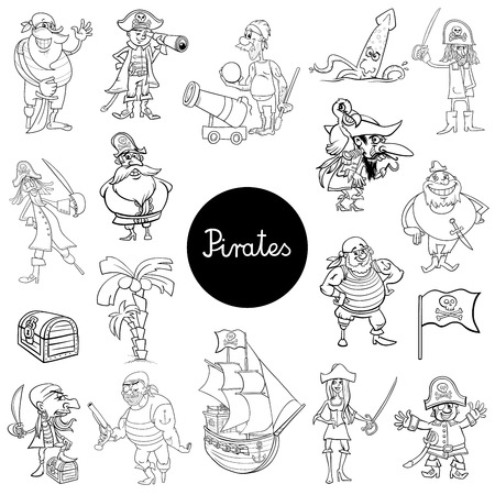 Black and White Cartoon Illustration of Pirates Fantasy Characters Set
