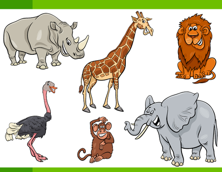 Cartoon Illustration of Funny Safari Animal Characters Set