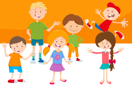Cartoon Illustration of Elementary Age Children Characters Set