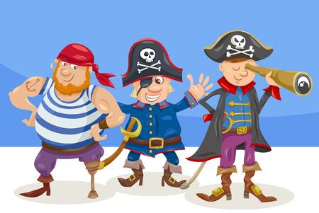 Cartoon Illustration of Funny Pirates or Corsairs Fantasy Characters Illustration