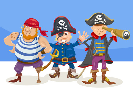 Cartoon Illustration of Funny Pirates or Corsairs Fantasy Characters Vectores