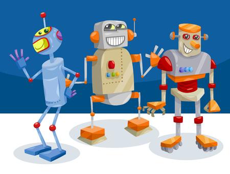 Cartoon Illustration of Funny Robot Fantasy Characters