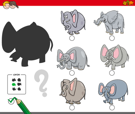 Cartoon Illustration of Finding the Shadow without Differences Educational Activity for Children with Elephants Animal Characters