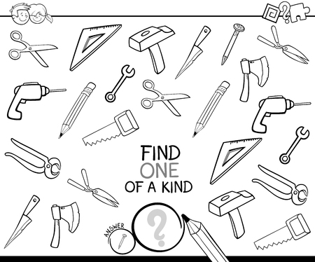 Black and White Cartoon Illustration of Find One of a Kind Picture Educational Activity Game for Children with Tools Objects Coloring Book