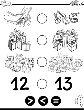 Black and White Cartoon Illustration of Educational Mathematical Game of Greater Than, Less Than or Equal to for Children with Objects and Characters Coloring Book Illusztráció