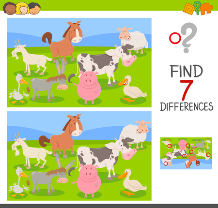 Cartoon Illustration of Finding Seven Differences Between Pictures Educational Activity Game for Children with Farm Animals Group Illustration