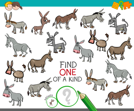 Cartoon Illustration of Find One of a Kind Picture Educational Activity Game for Children with Donkeys Animal Characters