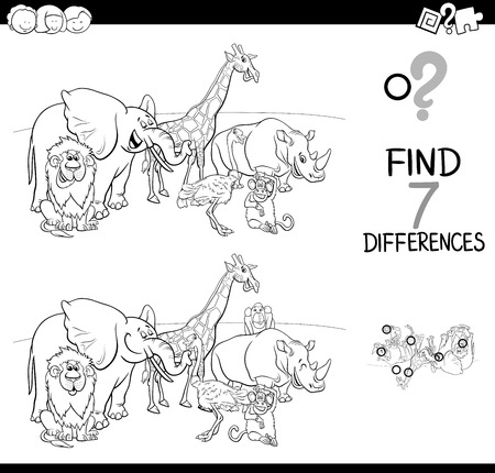 Black and White Cartoon Illustration of Finding Seven Differences Between Pictures. Educational Activity Game for Kids with African Animal Characters. Group Coloring Book. Illustration