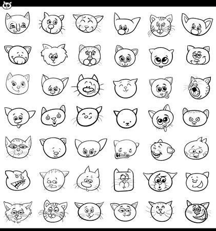 Bianco e nero fumetto illustrazione di gatti e gattini teste di grandi dimensioni,
