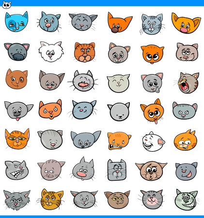 Cartoon Illustration of Cats and Kittens Heads Large Set.