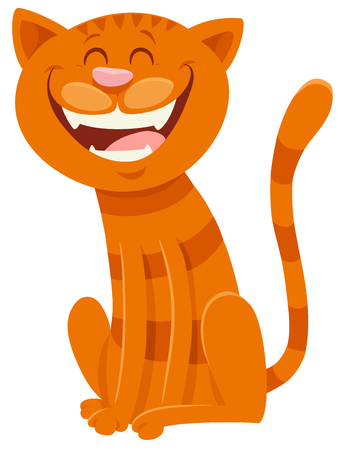 Cartoon Illustration of Funny Cat Animal Mascot Character