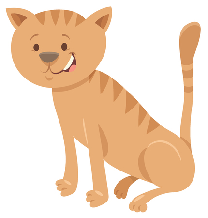 Cartoon Illustration of Cute brown Cat Funny Animal Character