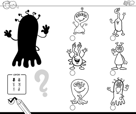 Black and White Cartoon Illustration of Finding the Shadow without Differences. Educational Activity for Children with Alien Characters Coloring Book.