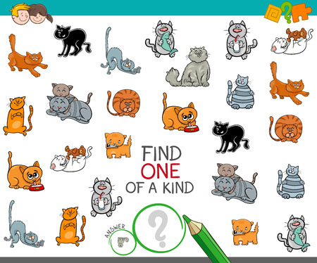 Cartoon Illustration of Find One of a Kind Picture Educational Activity Game for Children with Cats or Kittens Pets Animal Characters