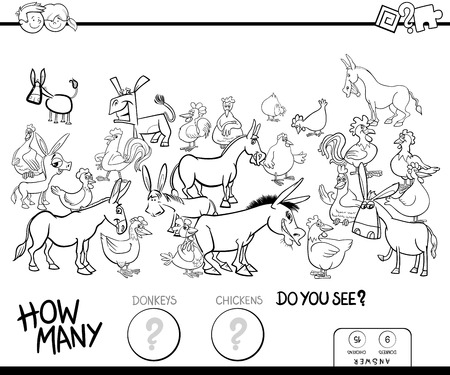 Black and White Cartoon Illustration of Educational Counting Game for Children with Donkeys and Chickens Farm Animals Characters Group Coloring Book
