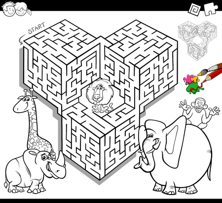 Black and white cartoon illustration of education maze or labyrinth activity game for children with safari animals coloring book.