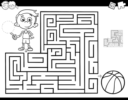 Black and White Cartoon Illustration of Education Maze or Labyrinth Activity Game for Children with Little Boy and Basketball Coloring Book Ilustração