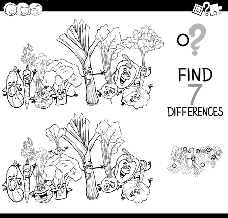 Black and White Cartoon Illustration of Finding Seven Differences Between Pictures Educational Activity Game for Kids with Vegetables Food Characters Group Coloring Book Vectores