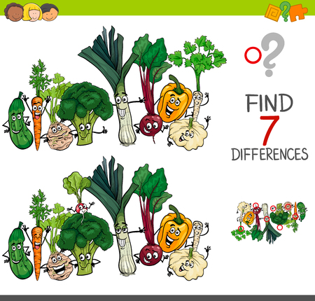 Cartoon Illustration of Finding Seven Differences Between Pictures Educational Activity Game for Kids with Vegetables Food Characters Group