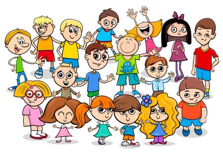Cartoon Illustration of Preschool or School Age Children Characters Group Ilustração