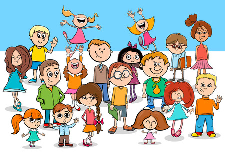 Cartoon Illustration of Preschool or Elementary Age Children Funny Characters Group