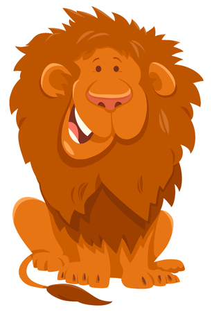Cartoon Illustration of Funny Lion Wild Cat Animal Character