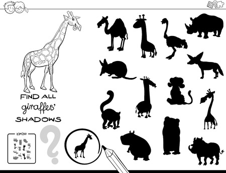Black and White Cartoon Illustration of Finding All Giraffe Shadows Educational Activity for Children Coloring Book