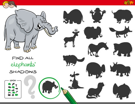 Cartoon Illustration of Finding All Elephant Shadows Educational Activity for Children Ilustração