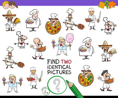 Cartoon Illustration of Finding Two Identical Pictures Educational Game for Children with Chef Characters and Food Vectores