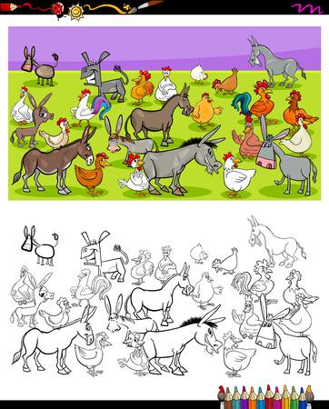 Ilustración de dibujos animados de burros y gallinas Grupo de personajes de animales de granja Actividad de libro para colorear