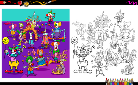 Cartoon Illustration of Clowns Characters Group Coloring Book Activity Vectores