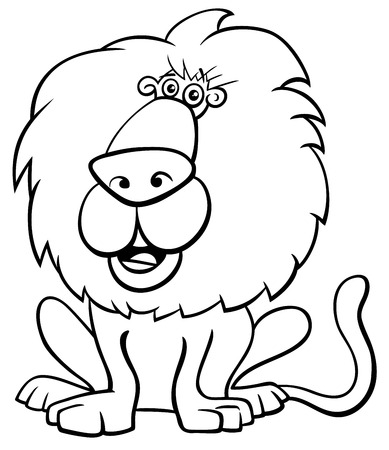 Ilustración caricatura en blanco y negro de Funny Lion Wild Cat Animal Character Coloring Book Ilustración de vector