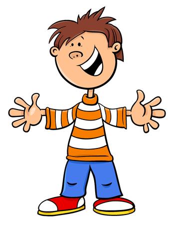 Cartoon Illustration of Elementary School Age Kid Boy Character Illusztráció