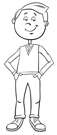 Black and White Cartoon Illustration of Elementary Age or Teenage Kid Boy Character Coloring Book