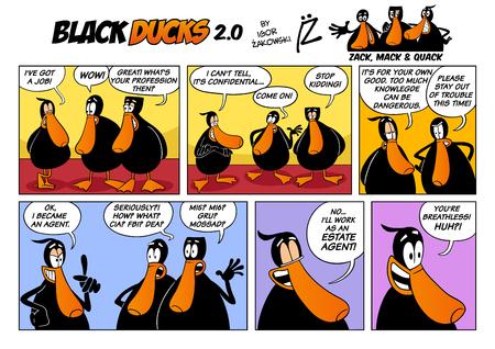 Cartoon Illustration of Black Ducks 2 Comic Story Episode 2