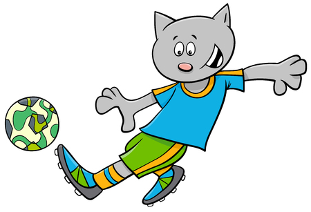 Cartoon Illustrations of Cat Football or Soccer Player Character with Ball Vectores