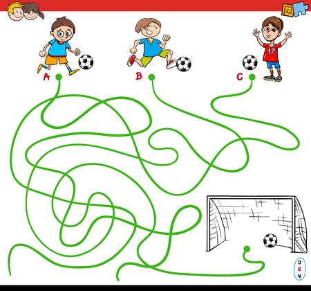 Ilustración de dibujos animados de Paths o Maze Puzzle Activity Game con Kid Boys y fútbol