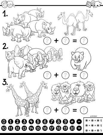 Black and White Cartoon Illustration of Educational Mathematical Addition Puzzle Game for Preschool and Elementary Age Children with Animal Characters Coloring Book