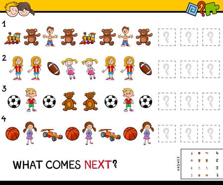Ilustración de dibujos animados de completar el juego educativo de patrones para niños en edad preescolar con niños y juguetes