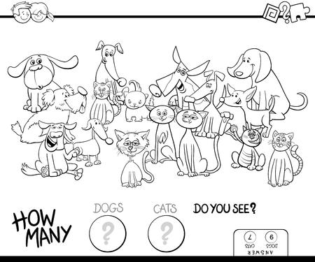 Ilustración caricatura en blanco y negro del juego educativo de conteo para niños con perros y gatos Animales de compañía Personajes divertidos Libro para colorear Ilustración de vector