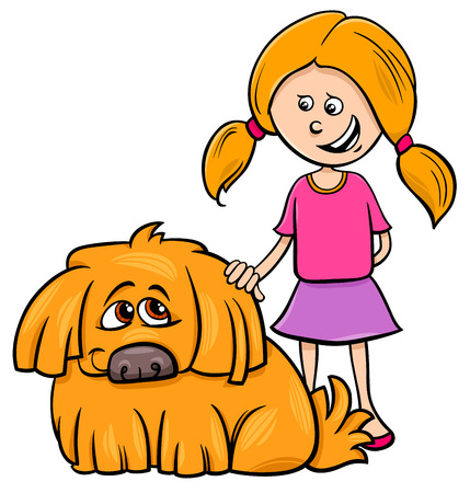 Cartoon Illustration of Kid Girl with Funny Shaggy Dog