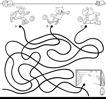 Black and White Cartoon Illustration of Paths or Maze Puzzle Activity Game with Soccer Animals Coloring Book