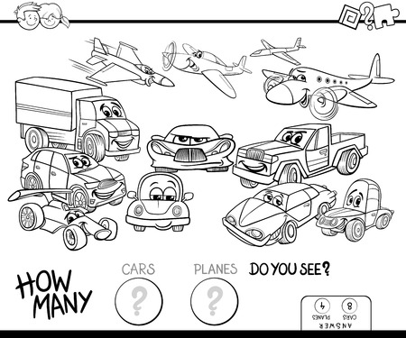 Black and White Cartoon Illustration of Educational Counting Game for Children with Cars and Planes Funny Characters Group Coloring Book