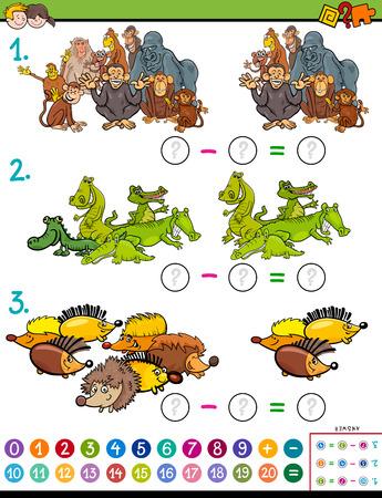 Cartoon Illustration du jeu de puzzle de soustraction mathématique éducative pour les enfants avec des personnages animaux