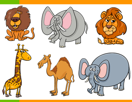 Cartoon Illustration of Safari Animals Funny Characters Set